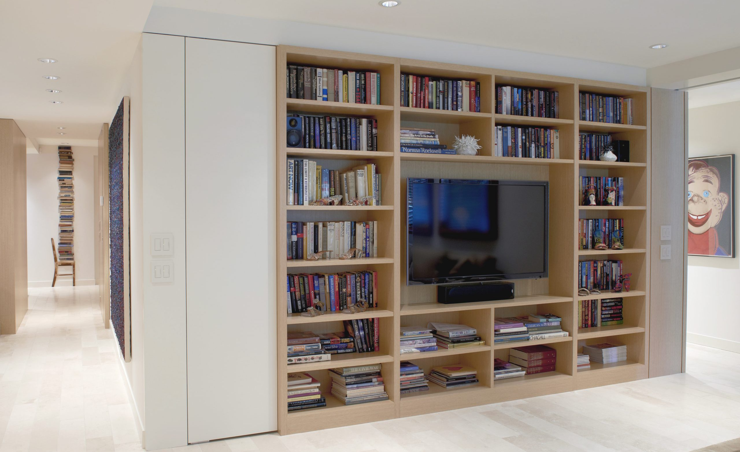 Bookshelves and media center