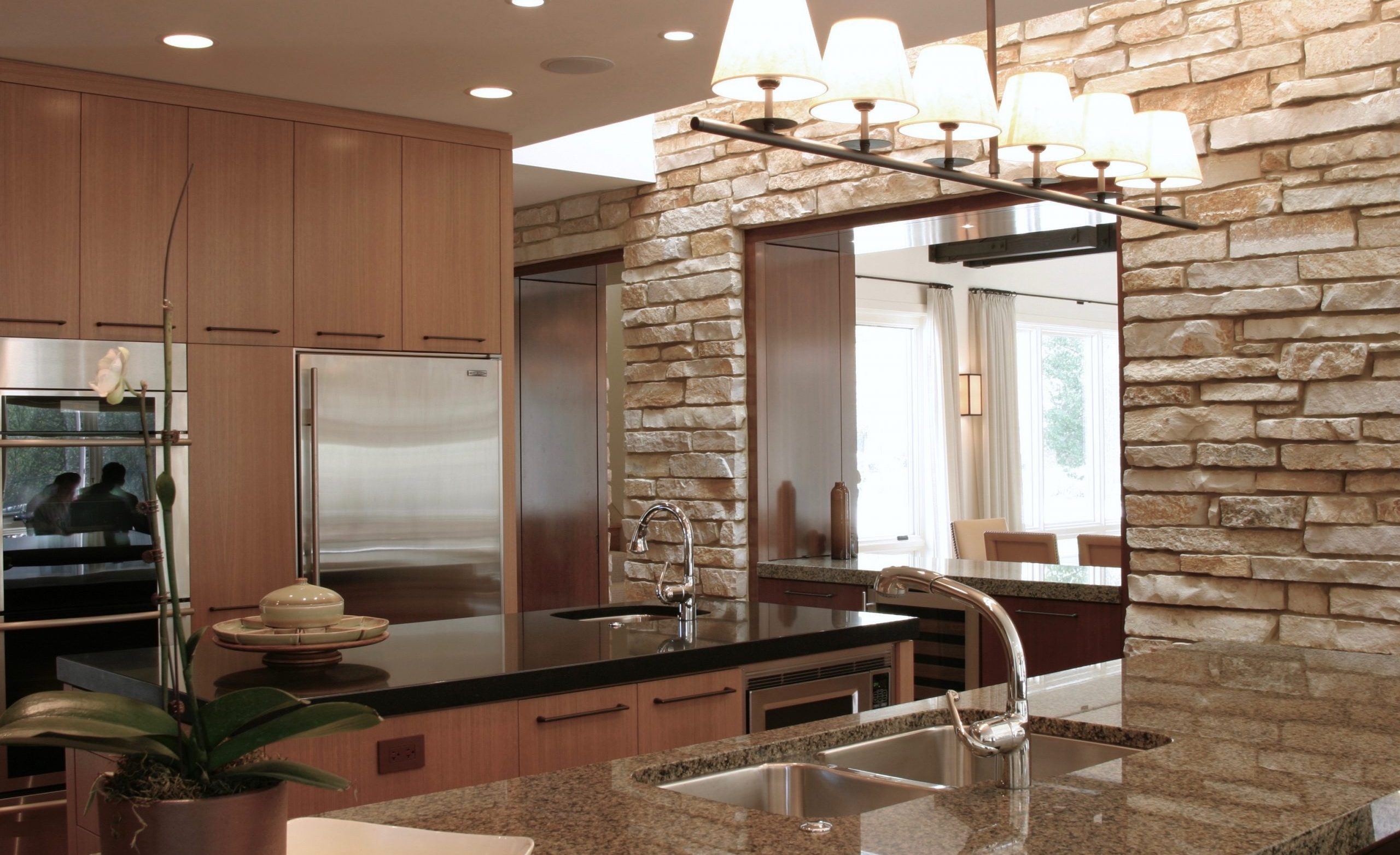Contemporary Lodge Kitchen with View to Dining