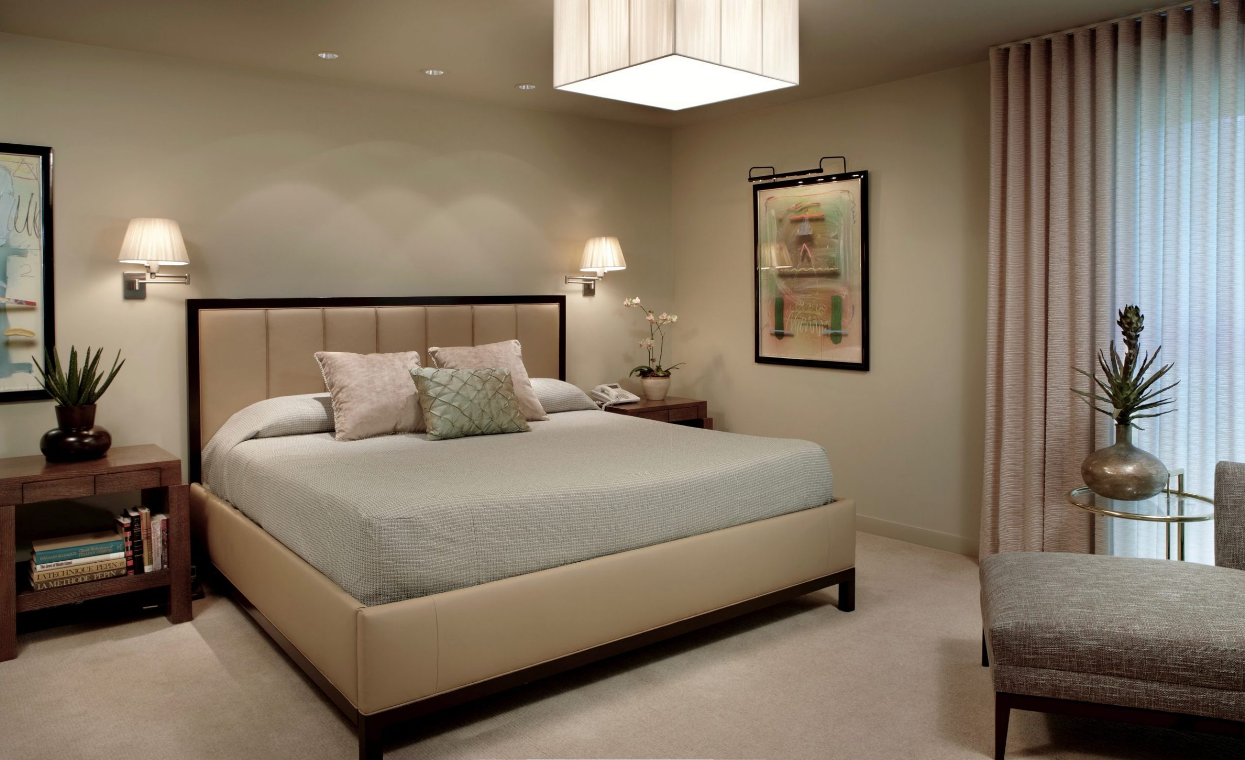 Master bedroom with contemporary chandelier